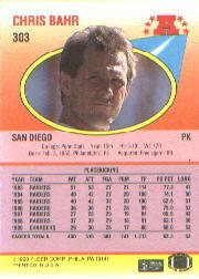1990 Fleer #303 Chris Bahr UER/('86 FGA and FGM/stats are reversed) back image
