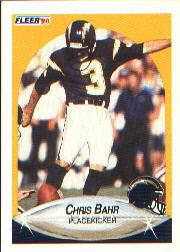 1990 Fleer #303 Chris Bahr UER/('86 FGA and FGM/stats are reversed)