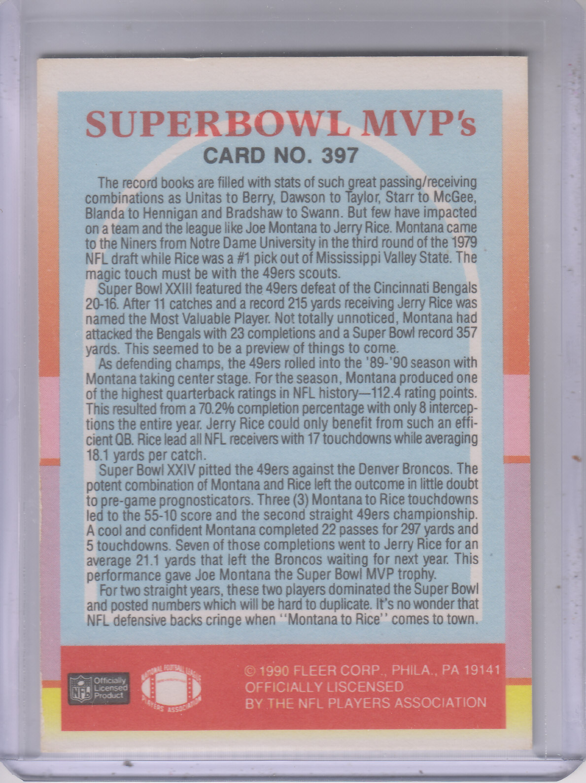 1990 Fleer #397 Joe Montana/Rice MVP's back image