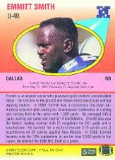 1990 Fleer Update #U40 Emmitt Smith RC back image