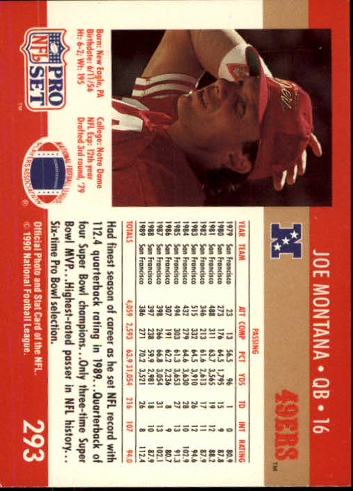 1990 Pro Set #293 Joe Montana back image