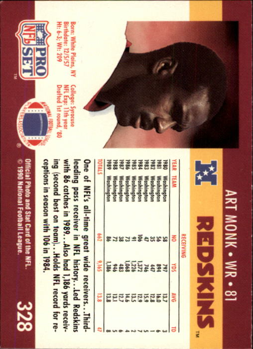 1990 Pro Set #328 Art Monk back image