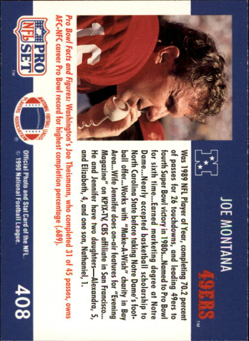 1990 Pro Set #408 Joe Montana PB back image