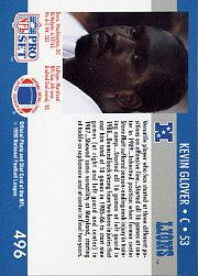 1990 Pro Set #496B Kevin Glover RC/(Card back says C) back image