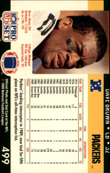1990 Pro Set #499 Dave Brown DB back image