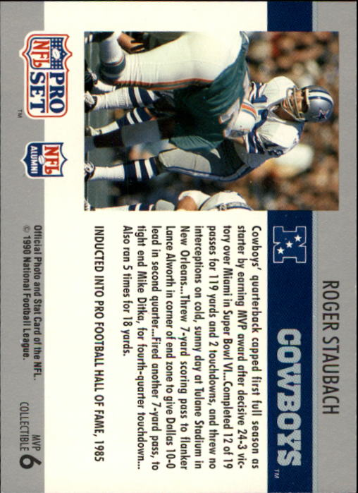 1990 Pro Set Super Bowl MVP's #6 Roger Staubach back image
