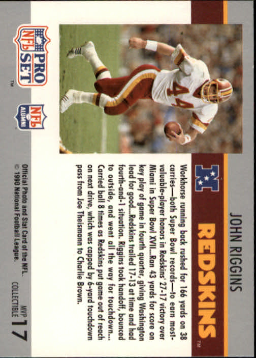 1990 Pro Set Super Bowl MVP's #17 John Riggins back image