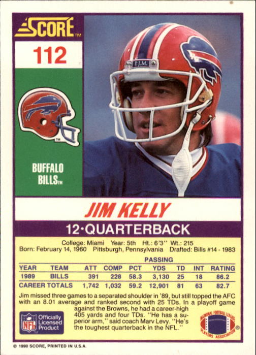 1990 Score #112 Jim Kelly back image