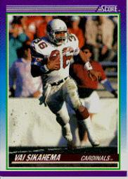 1990 Score #136B Vai Sikahema/(Photo on back/has no helmet on)