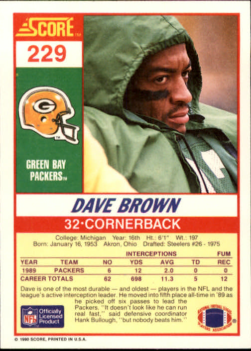 1990 Score #229 Dave Brown DB back image