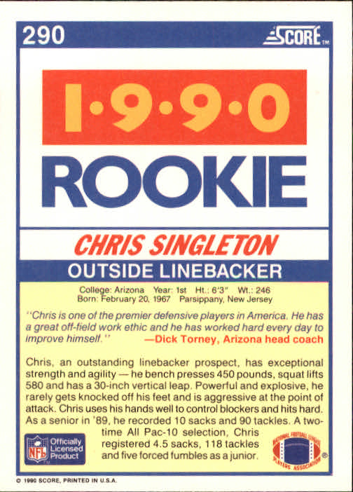 1990 Score #290 Chris Singleton RC back image