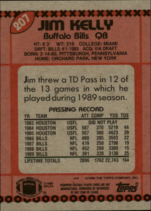 1990 Topps #207 Jim Kelly back image