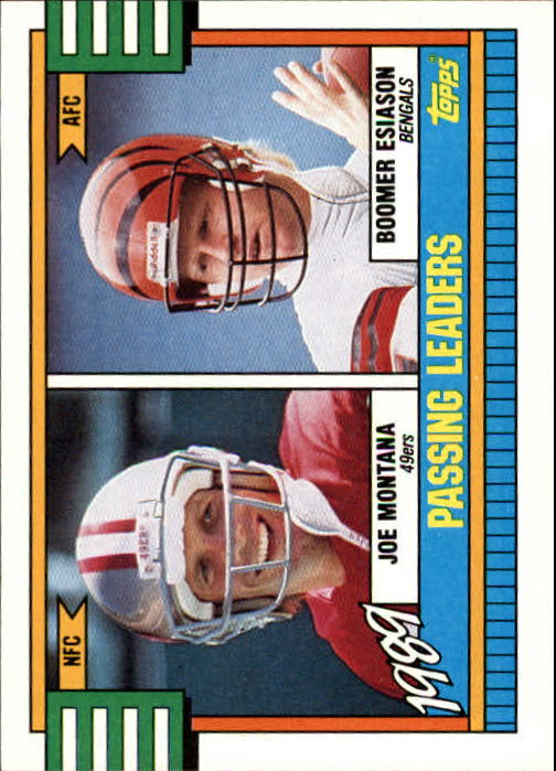 1990 Topps #229A Passing Leaders/Joe Montana/Boomer Esiason