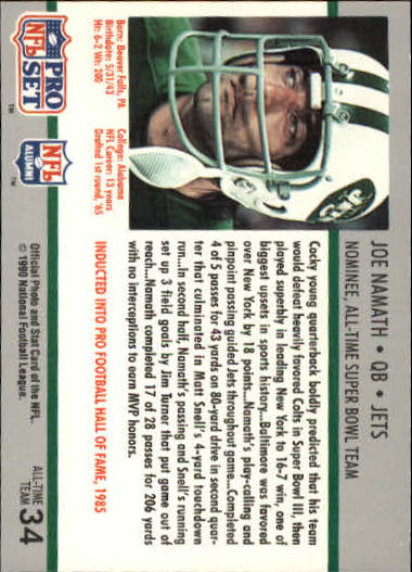 1990-91 Pro Set Super Bowl 160 #34 Joe Namath back image
