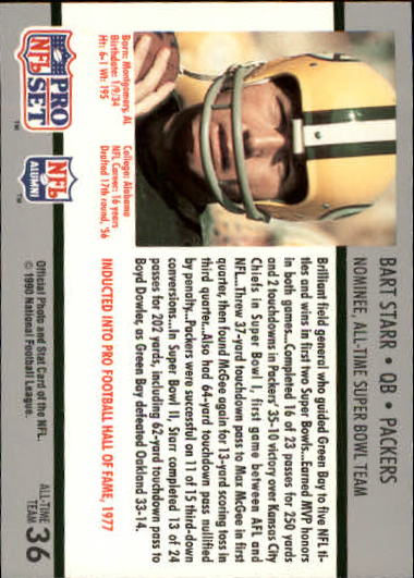 1990-91 Pro Set Super Bowl 160 #36 Bart Starr back image