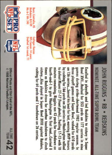 1990-91 Pro Set Super Bowl 160 #42 John Riggins back image