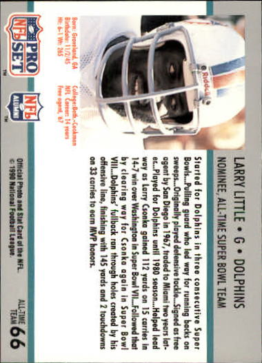 1990-91 Pro Set Super Bowl 160 #66 Larry Little back image