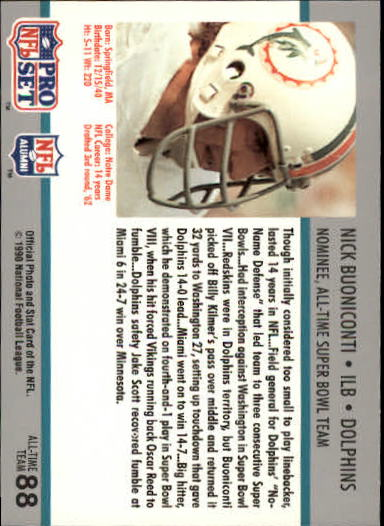 1990-91 Pro Set Super Bowl 160 #88 Nick Buoniconti back image