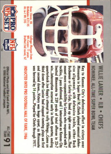 1990-91 Pro Set Super Bowl 160 #91 Willie Lanier back image