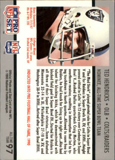 1990-91 Pro Set Super Bowl 160 #97 Ted Hendricks back image