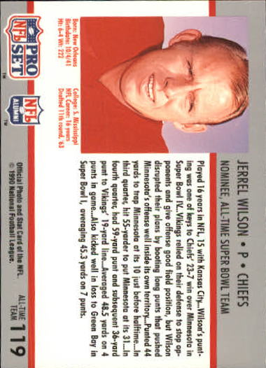 1990-91 Pro Set Super Bowl 160 #119 Jerrel Wilson back image