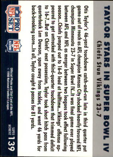 1990-91 Pro Set Super Bowl 160 #139 Otis Taylor back image
