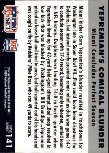 1990-91 Pro Set Super Bowl 160 #141 Garo Yepremian back image