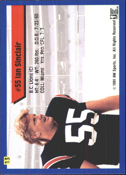 1991 All World CFL #13 Ian Sinclair