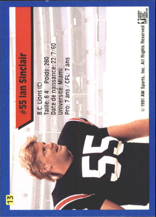 1991 All World CFL French #13 Ian Sinclair