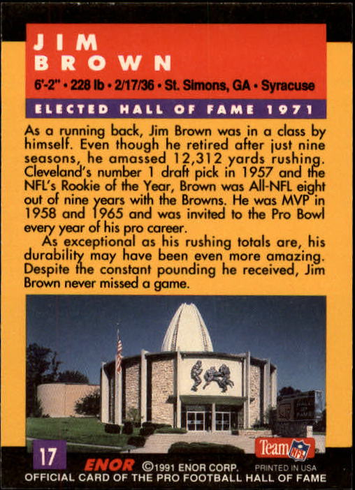 1991 ENOR Pro Football HOF #17 Jim Brown back image