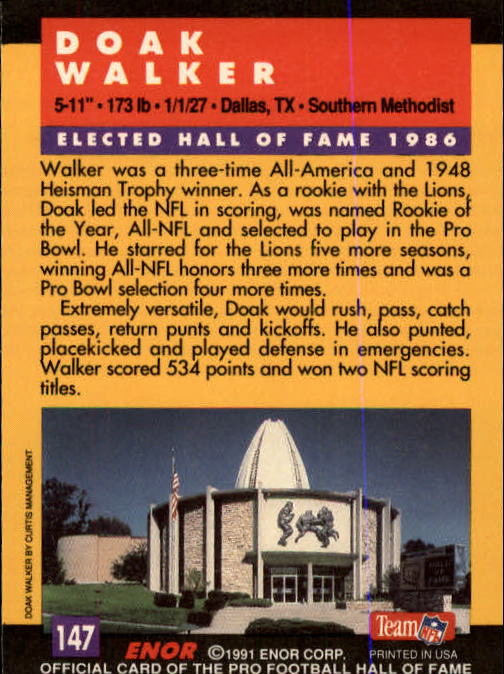 1991 ENOR Pro Football HOF #147 Doak Walker back image
