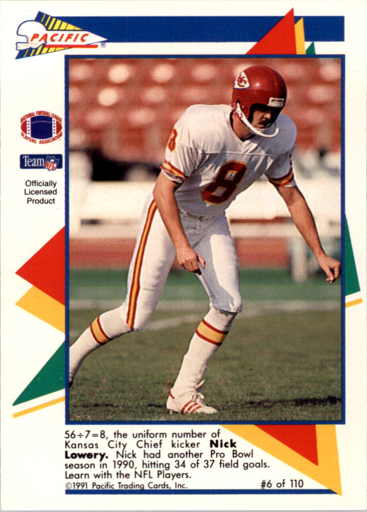 1991 Pacific Flash Cards #6 Nick Lowery