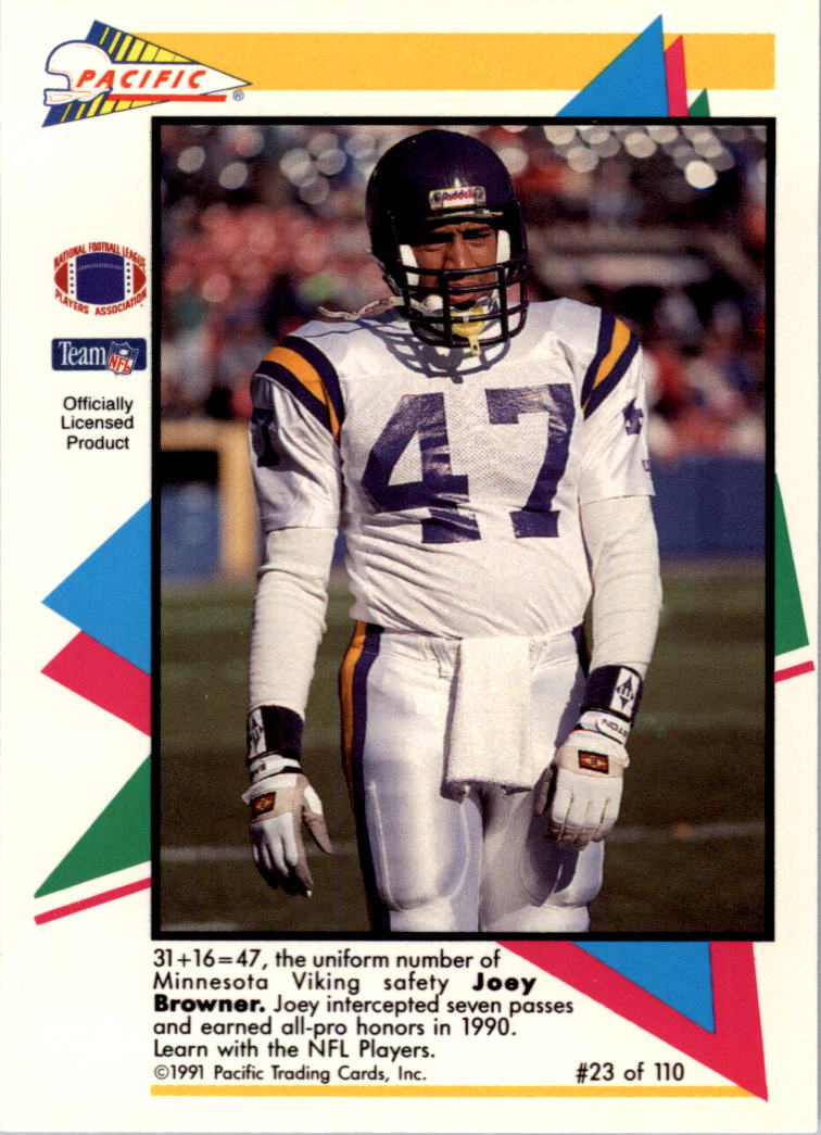 1991 Pacific Flash Cards #23 Joey Browner