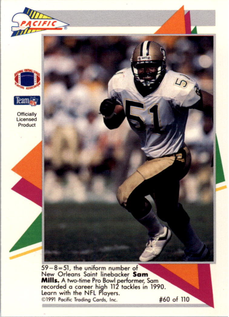 1991 Pacific Flash Cards #60 Sam Mills