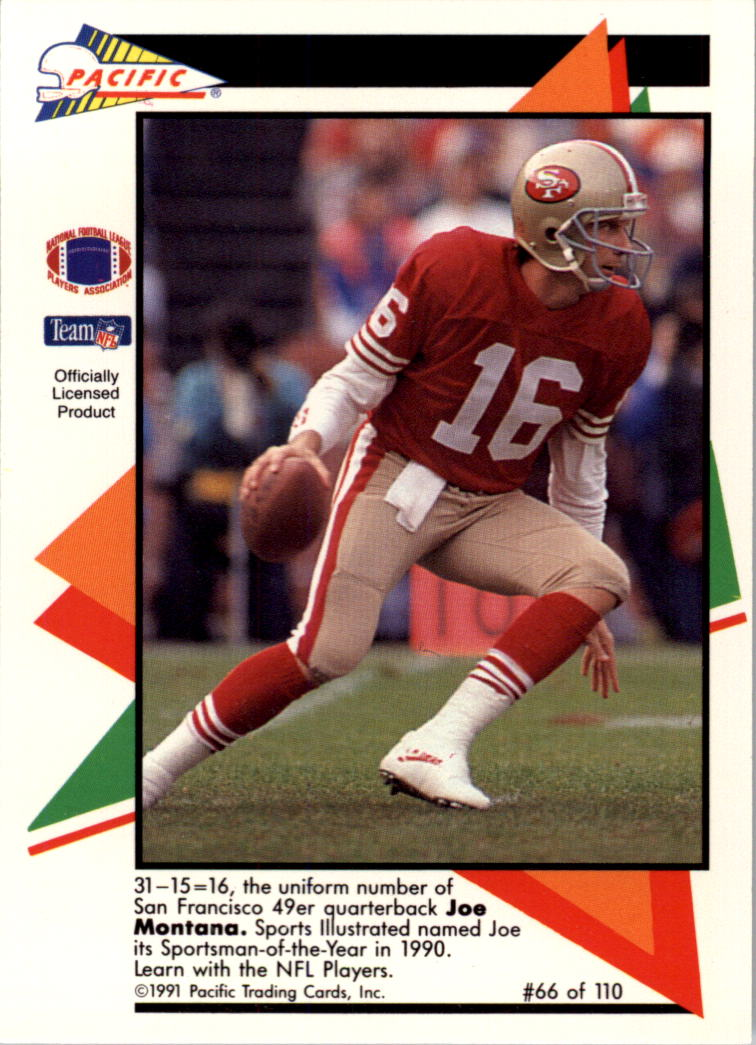 1991 Pacific Flash Cards #66 Joe Montana