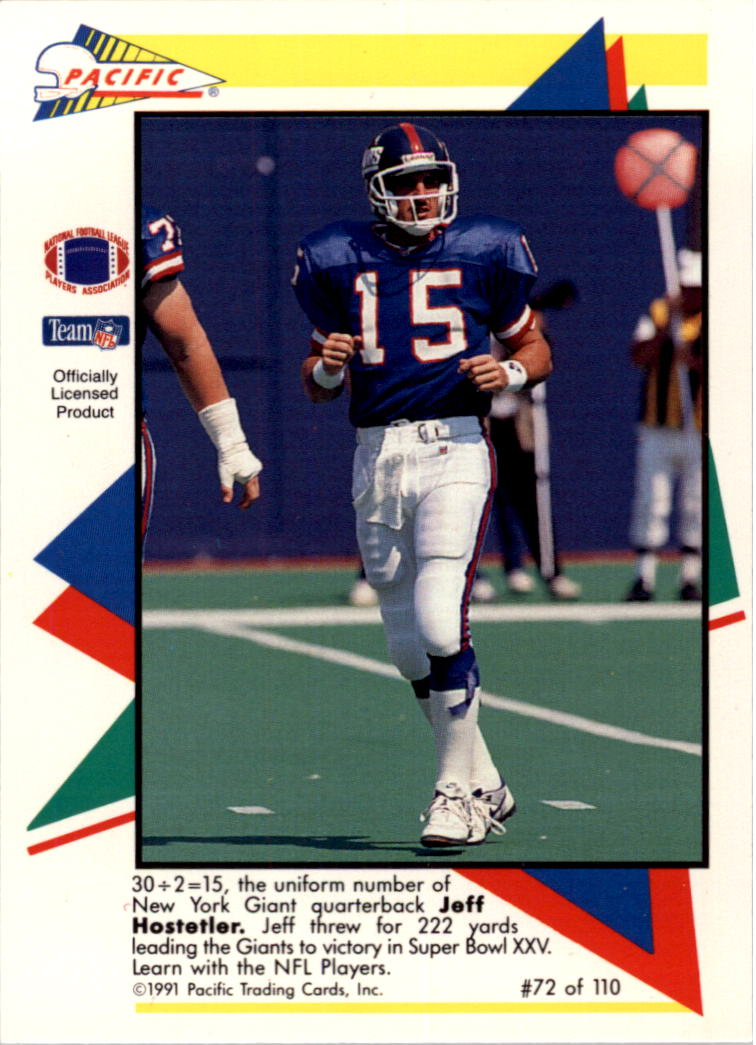 1991 Pacific Flash Cards #72 Jeff Hostetler