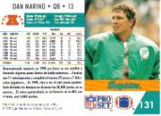 1991 Pro Set Spanish #131 Dan Marino back image