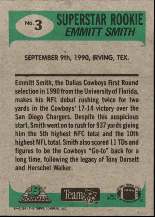 1991 Bowman #3 Emmitt Smith RS