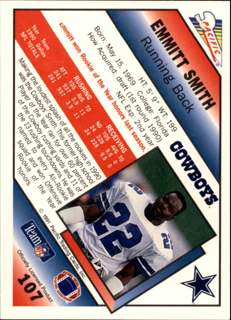 1991 Pacific #107 Emmitt Smith back image