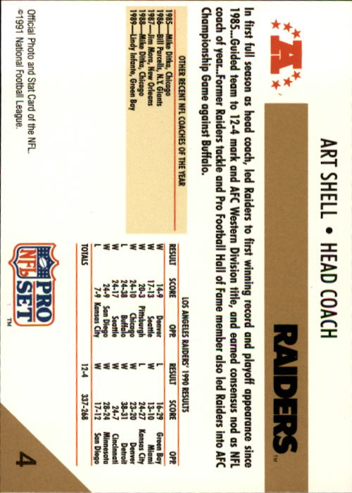 1991 Pro Set #4 Art Shell/NFL Coach of the Year back image