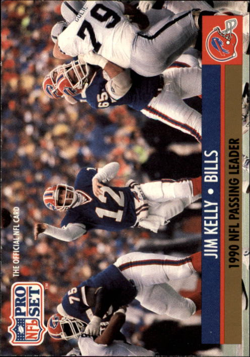 1991 Pro Set #8A Jim Kelly/NFL Passing Leader/(NFLPA logo on back)