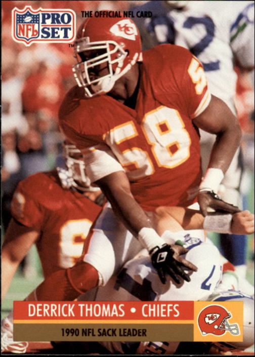 1991 Pro Set #19B Derrick Thomas COR/NFL Sack Leader/(Chiefs helmet on front)