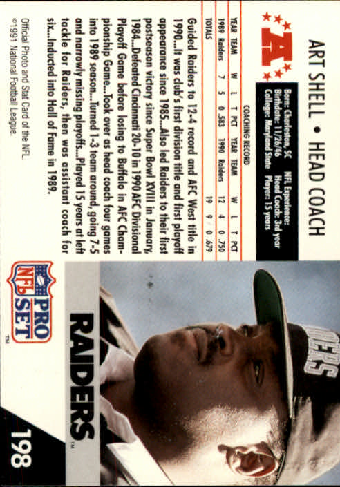 1991 Pro Set #198 Art Shell CO back image