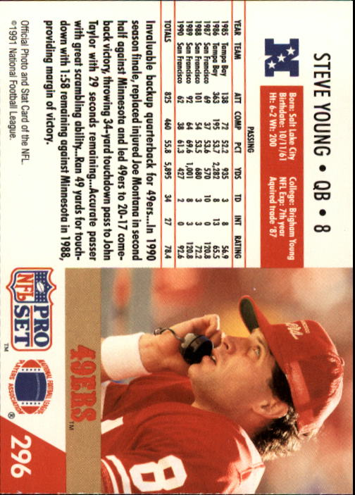 1991 Pro Set #296 Steve Young back image