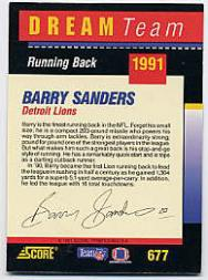 1991 Score Dream Team Autographs #677 Barry Sanders