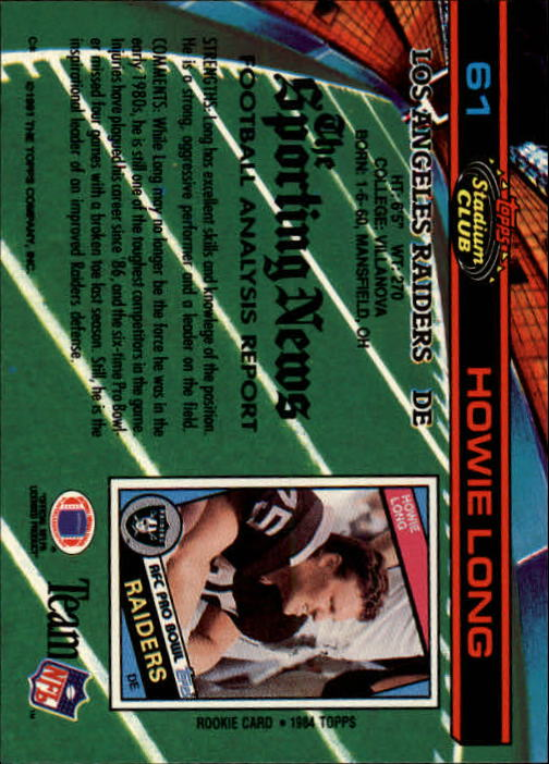 1991 Stadium Club #61 Howie Long back image