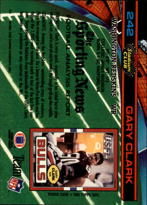 1991 Stadium Club #242 Gary Clark back image