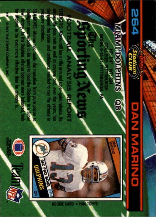 1991 Stadium Club #264 Dan Marino back image