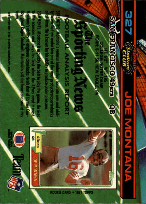 1991 Stadium Club #327 Joe Montana back image