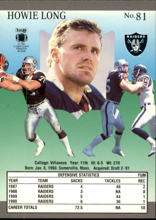 1991 Ultra #81 Howie Long back image